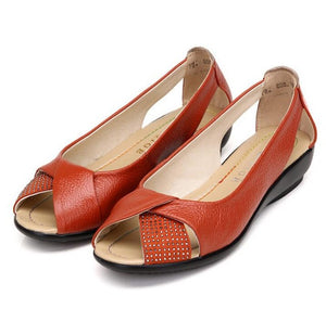Summer genuine leather casual wedges pumps