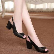 Open toe genuine leather High Heel sandals Casual platform