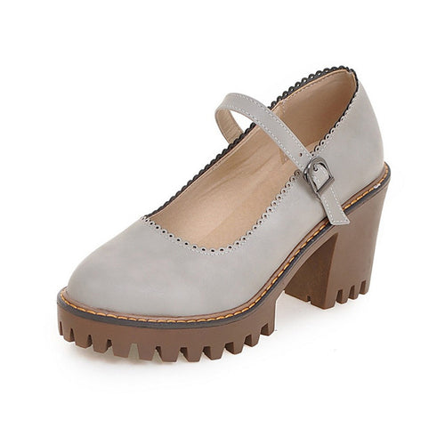 Square Med Heels Ankle Strap Solid Platform Casual Pumps
