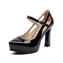 Genuine Leather High Heels Solid Buckle Strap Shoes