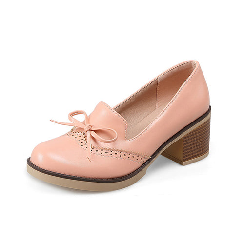 Square Heels Little Bow Pumps Platform Retro Brogue