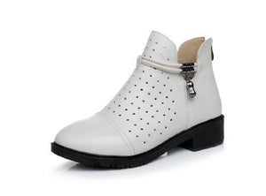 Spring Summer Hollow Out Sandals Boots Genuine Leather