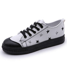 Vulcanized Round Toe Lace Up Patchwork Canvas Leisure Flat