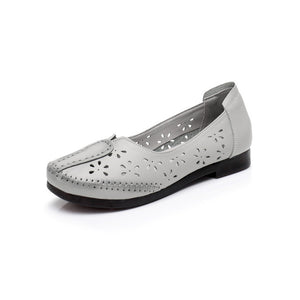 Casual Genuine Leather Loafers Breathable Summer Flats with Hollow Out