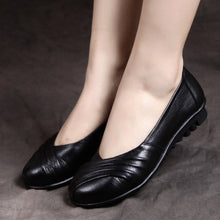 Genuine leather spring flat shoes Handmade