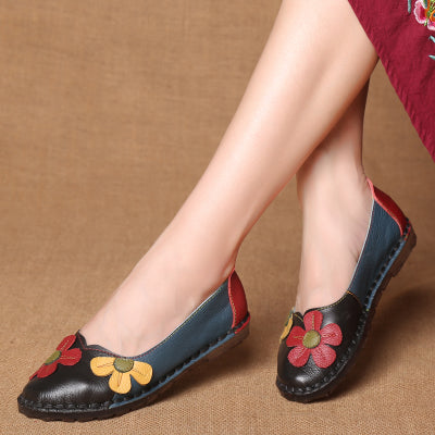 Summer Autumn Fashion Flower Design Round Toe Vintage Genuine Leather Flats