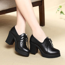 High Heel Shoes Fashion Lace Up Casual Leather Retro Pumps