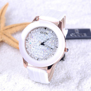 Diamond Women Watches Genuine Leather