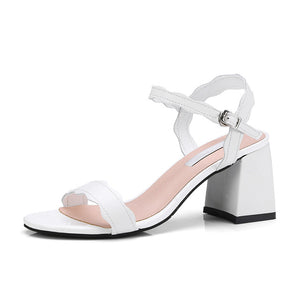 Genuine leather ankle-strap square High Heels Fashion Summer Sandals