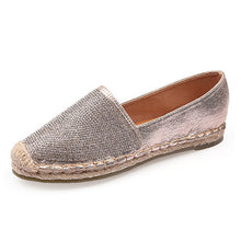 Bling Crystal Loafers Weave Straw Ballet Flats Casual Fisherman Slip On Comfort Solid