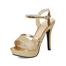 Summer ankle-strap Gold Silver Sandals Fashion High Heels Party Woman Shoes