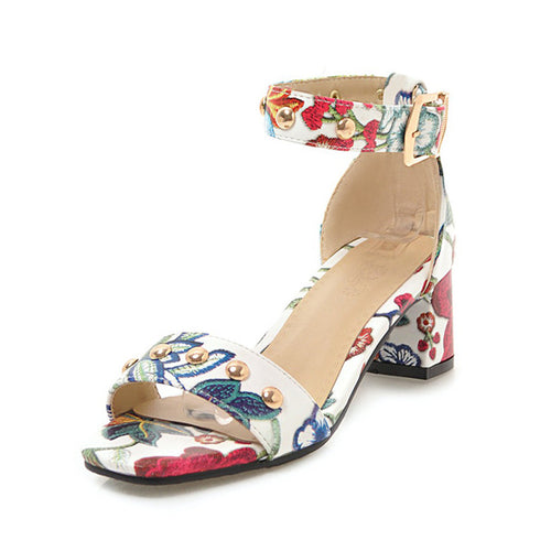 Flowers Printing Concise ankle-strap party Sandals