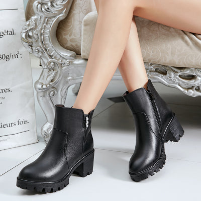 Winter Black Solid Ankle Boots Slip On High Heels Genuine Leather