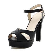 Buckle Strap Square High Heels Pumps Platform