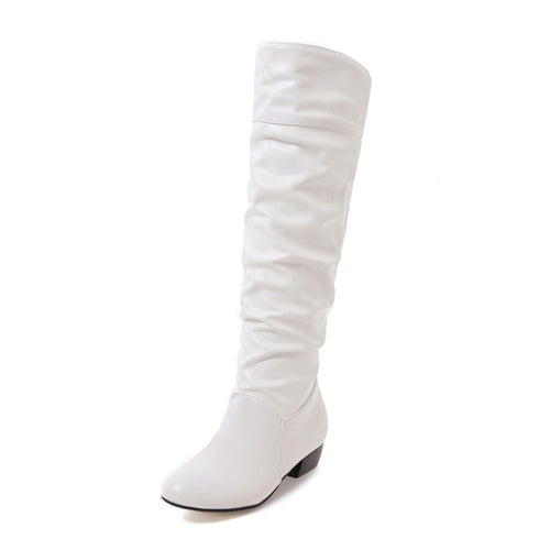 Classic Solid White Knee High Low Heels Boots Waterproof