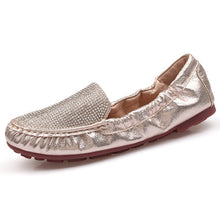 Gold Loafers Split Leather Flats Slip On Moccasin With Bling Crystal Soft