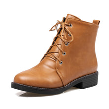 Lace up Plush Cool Casual Ankle Strap Fashion Square Heel Boots