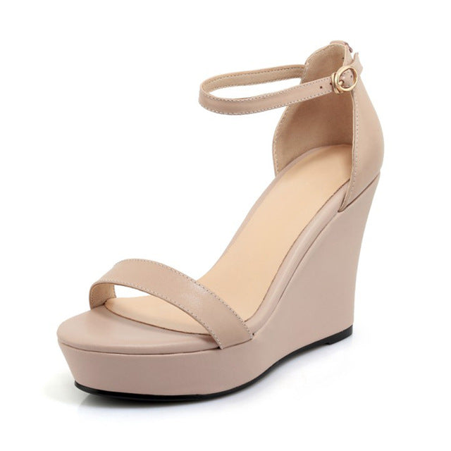 Genuine Leather Platform Wedges Sandals Solid Shallow Cover Heel