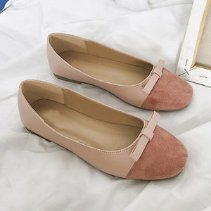 Flock Butterfly-knot Loafers Sweet Candy Colors Flats