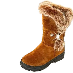 Winter Snow Boots Solid Warm Casual With Fur Buckle Round Toe