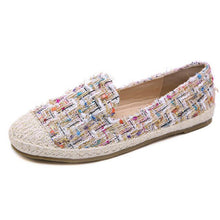 Flats Rome Retro Weaving Cane Grass Vamp Platform Slip-on Causal