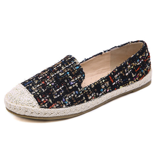 Bling Loafers Weave Straw Ballet Flats Casual Fisherman Shoes