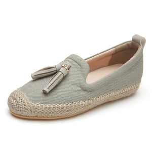 Flats 2019 Platform Loafers Slip On Casual Weave Straw Shoes
