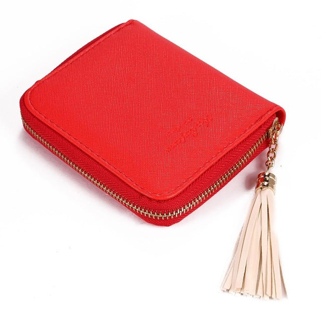 Wallet Solid Vintage Style Synthetic Leather Tassel Bifold