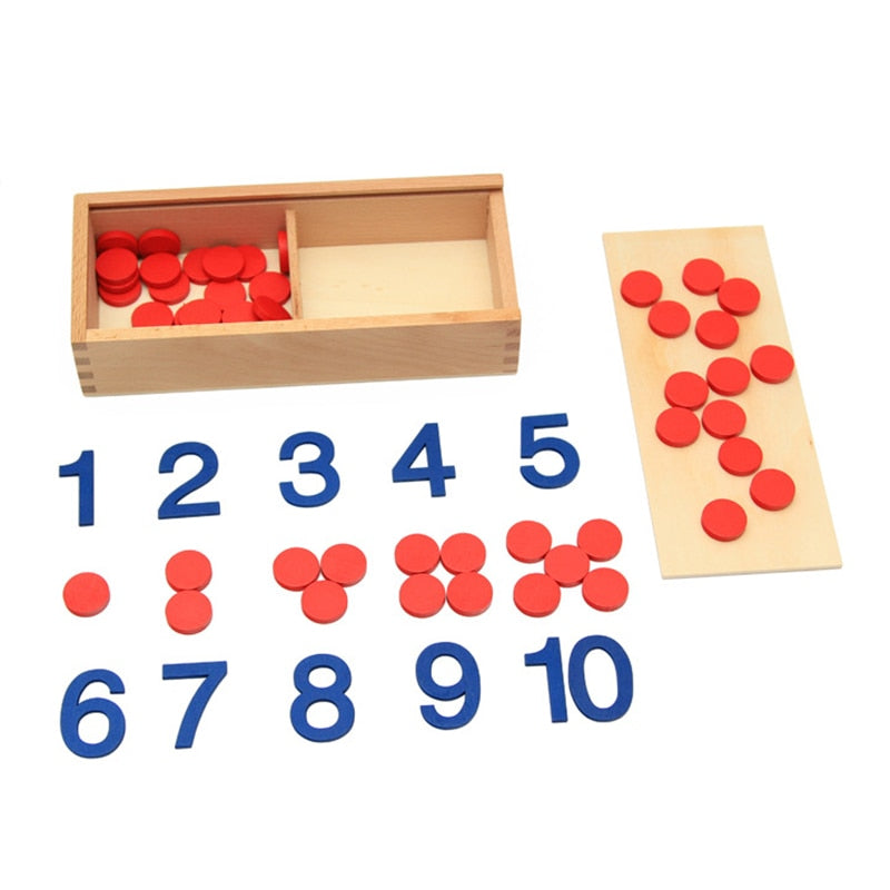 Montessori Counters with Number Cards