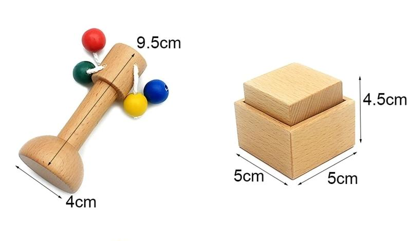 Montessori Primary Colour Rattle And Hand Grasping Wooden Cube Set