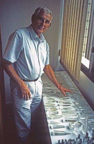 "ic: Ed Swoboda '87 with a haul of ""hand held quartz"" popularized during the metaphysical movement.  These crystals were later deemed ""Lemurian"" when sold in the US (Photo Credit Rock Currier)"