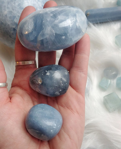 ic:From top to bottom, Blue Calcite, Celestine, and Angelite