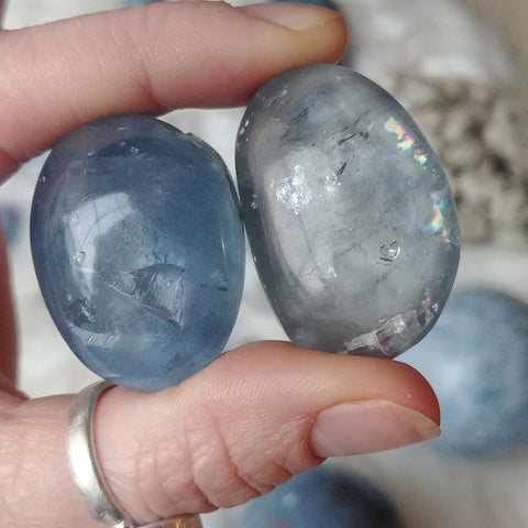 ic:Striking clarity as seen here in these 2 tumbles, is an unmistakable characteristic of Celestine.