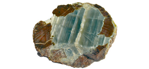 "ic:This picture, taken in 2005 by Marcelo Olsina, shows a half-polished slab of Chalcedony agate from Argentina.  This was taken 4 years before this mineral was trademarked ""Lemurian Aquatine Calcite"""