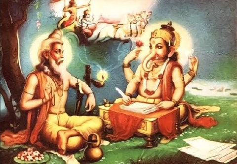 ic:Sage Vyasa reciting the Mahabarata to Lord Ganesha the scribe.  This story was added over 150 years after the first Mahabharata was put to paper.