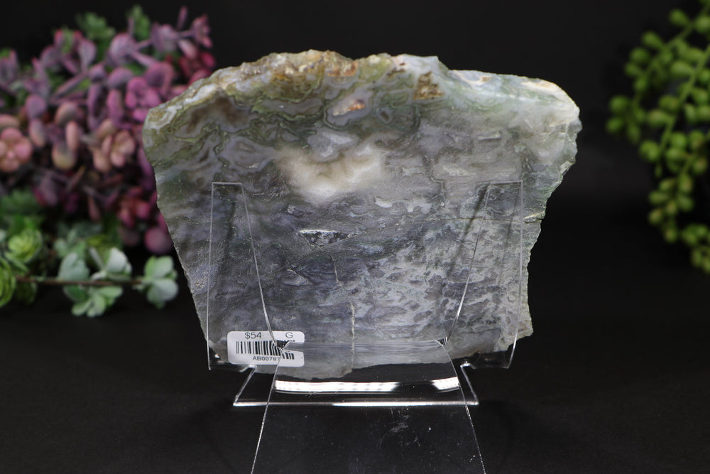 Moss Agate Slab with Stand