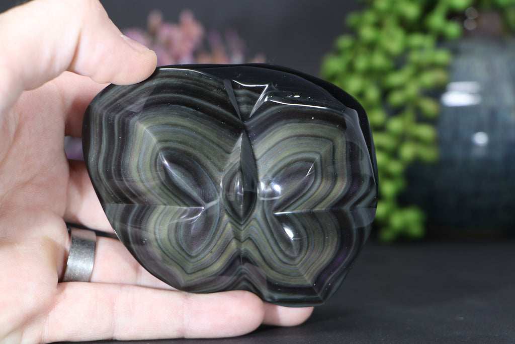 Rainbow Obsidian Butterfly Carving