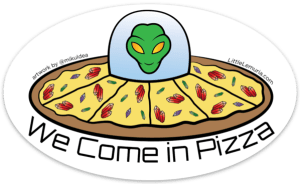 Pizza Alien Sticker