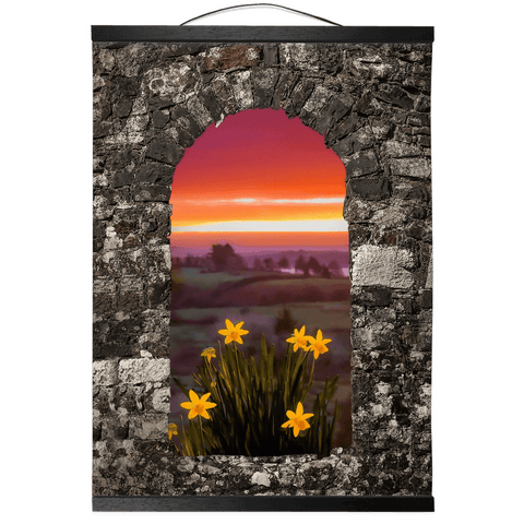 Image of Wall Hanging - Spring Daffodils and County Clare Sunrise Wall Hanging Moods of Ireland 12x16 inch Black