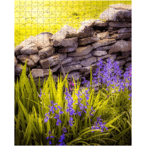 Image of Puzzle - Spring Bluebells and Stone Fence, County Clare - James A. Truett - Moods of Ireland - Irish Art