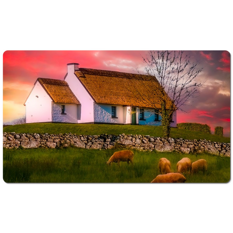 Image of Desk Mat - Irish Thatched Cottage on a Hill, County Clare, Ireland - James A. Truett - Moods of Ireland - Irish Art
