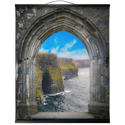 Image of Wall Hanging - Ireland's Cliffs of Moher through Rock of Cashel Medieval Arch wall hanging Moods of Ireland 20x24 inch Black