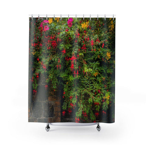 "Image of Shower Curtain - Irish Flowers Cascading Over Stone Wall Home Decor Printify 71"" x 74"""