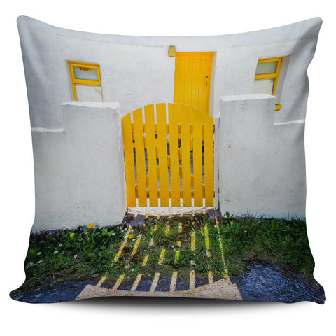 Throw Pillow Cover - Yellow Door on Inisheer, Aran Islands Pillow Cover Moods of Ireland