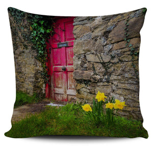 Pillow Cover - Daffodils Outside Irish Cottage in County Clare