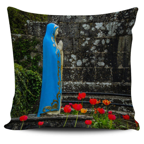 Pillow Cover - Virgin Mary and Spring Tulips at Quin Abbey, County Clare Pillow Cover Moods of Ireland