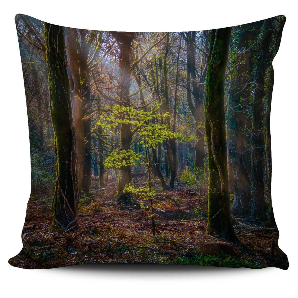 Pillow Cover - Misty Irish Spring Forest at Coole Park, County Galway Pillow Cover Moods of Ireland