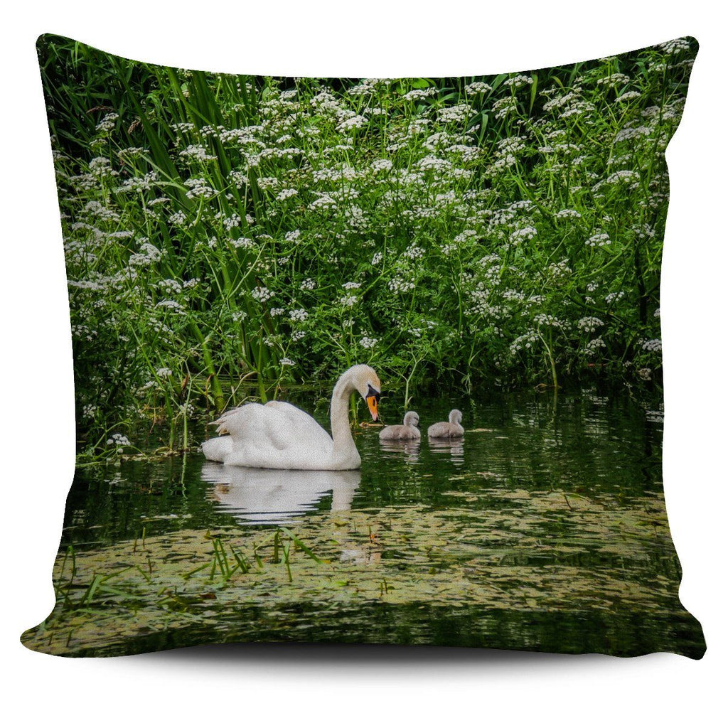 Pillow Cover - Swan and Cygnets at Doneraile Park, County Cork Pillow Cover Moods of Ireland