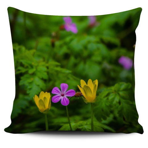 Image of Pillow Cover - Irish Spring Wildflowers at Thoor Ballylee in County Galway Pillow Cover Moods of Ireland