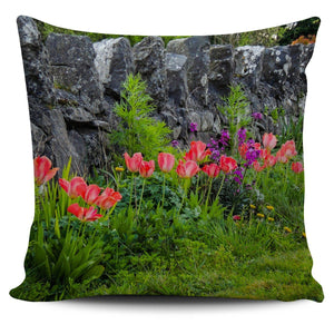 Pillow Cover - Spring Tulips and Stone Wall in County Galway Pillow Cover Moods of Ireland